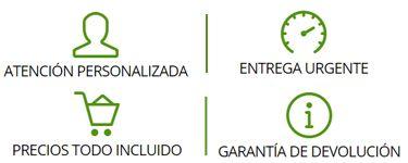 Entrega urgente · Atención Personalizada · Precios todo incluido · Garantía de devolución